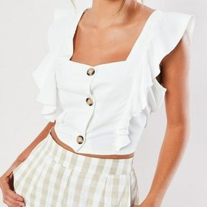 White frill sleeve button crop top